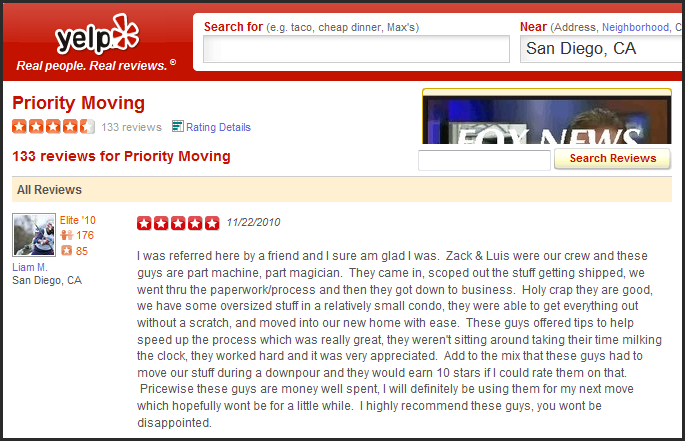 yelp san diego mover review